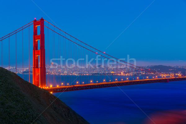Golden Gate Bridge San Francisco pôr do sol Califórnia EUA céu Foto stock © lunamarina