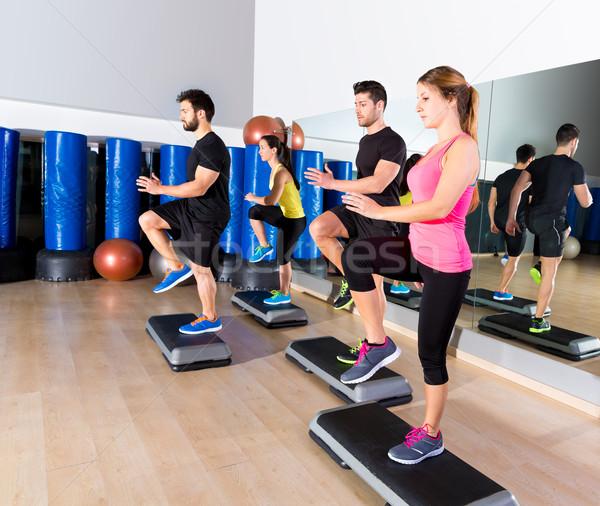 Cardio passo dançar grupo fitness ginásio Foto stock © lunamarina