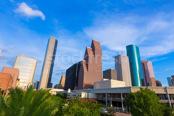 Houston sziluett észak kilátás Texas égbolt Stock fotó © lunamarina