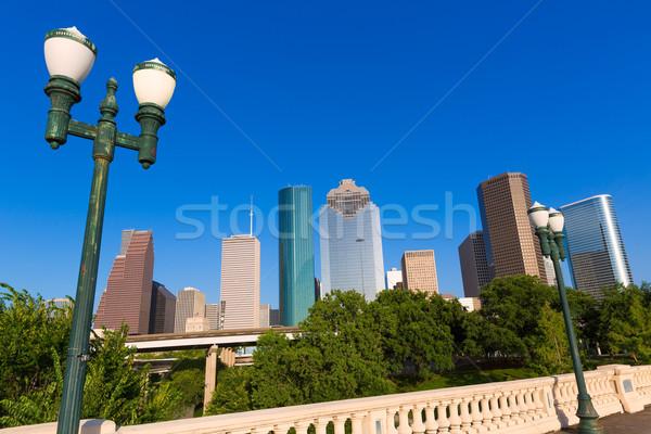 Houston ufuk çizgisi köprü Teksas ABD gökyüzü Stok fotoğraf © lunamarina