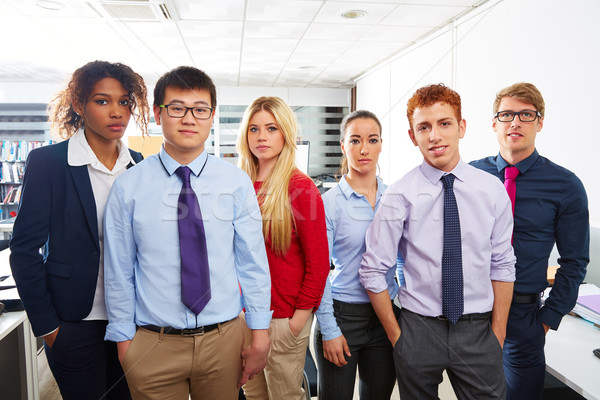 Stock photo: Business team young people standing multi ethnic