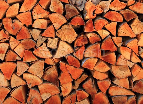 Tűzifa fa köteg egymásra pakolva háromszög forma Stock fotó © lunamarina