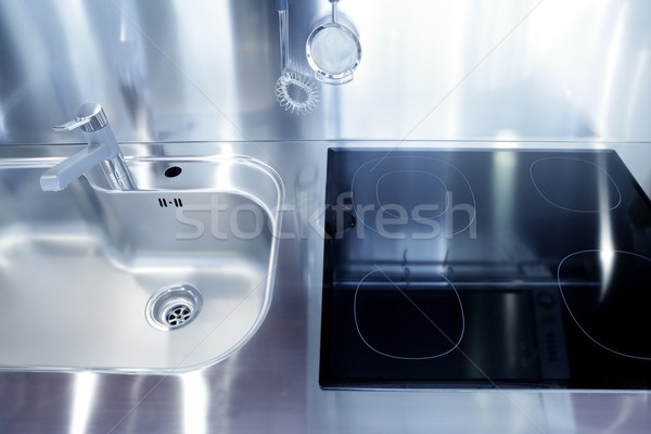 Foto stock: Cozinha · prata · afundar · fogão · moderno · decoração