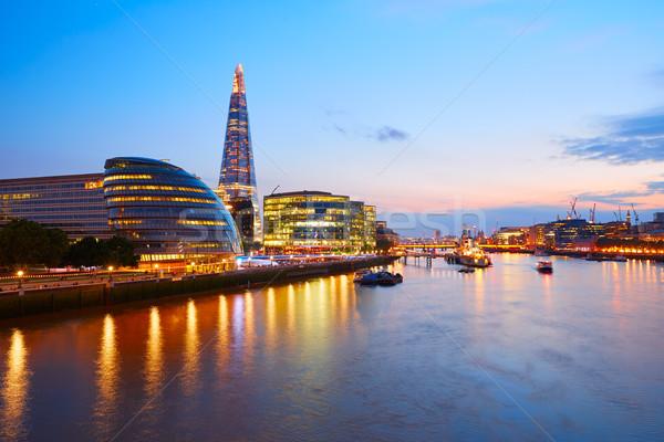 London skyline sunset City Hall and financial  Stock photo © lunamarina