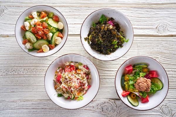 four salad mix bowls healthy food  Stock photo © lunamarina