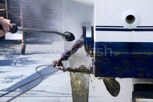 Barca pulizia acqua pressione rondella lavoro Foto d'archivio © lunamarina
