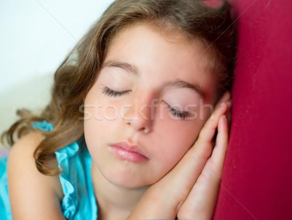 beautiful brunete kid girl sleeping hands together Stock photo © lunamarina