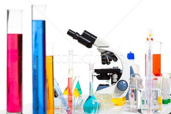 Kimyasal bilimsel laboratuvar deney tüpü mikroskop Stok fotoğraf © lunamarina