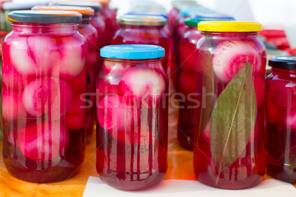 Mediterraneo cipolle rosso aceto vetro tradizionale Foto d'archivio © lunamarina