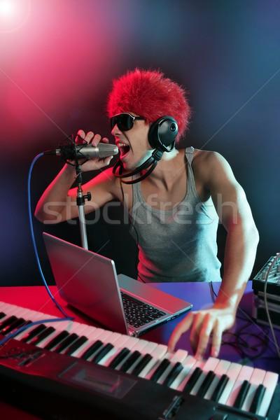 Színes fény zene felszerlés digitális férfi Stock fotó © lunamarina