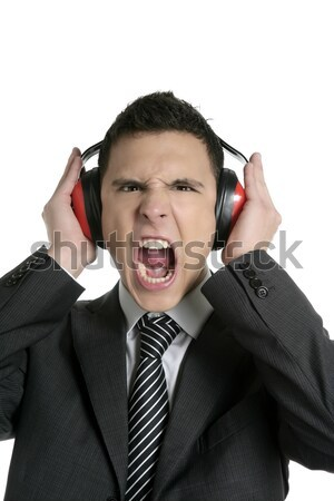 Biznesmen słuchawki hałasu gest odizolowany biały Zdjęcia stock © lunamarina