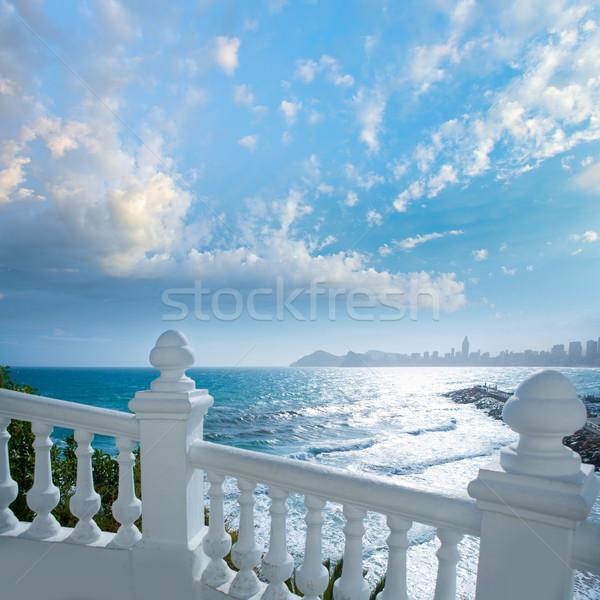 Benidorm balcon del Mediterraneo sea from white balustrade Stock photo © lunamarina