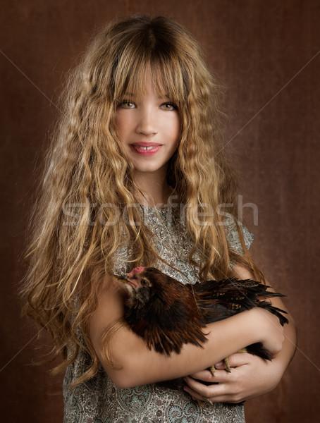 Ninos moda agricultor nina gallina Foto stock © lunamarina