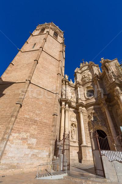 Valencia cathedral and Miguelete in plaza de la Reina Stock photo © lunamarina