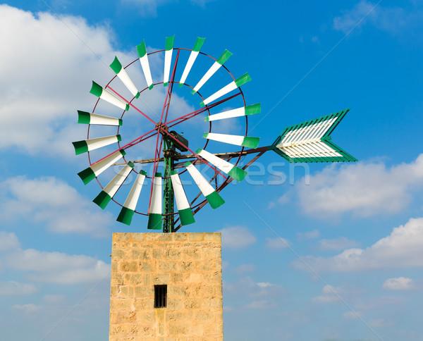 Mallorca moinho de vento ilha Espanha nuvens Foto stock © lunamarina