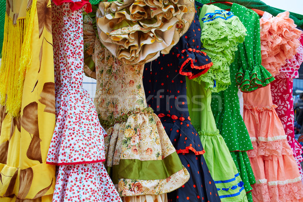 Andalusian gipsy dresses in a row at Spain Stock photo © lunamarina