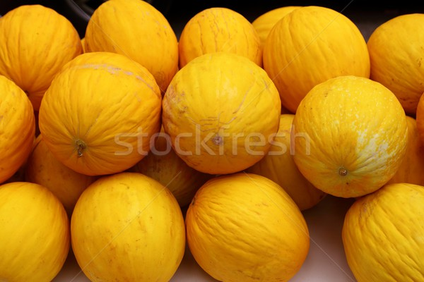 Canary Yellow Melon Indorus melo market stacked Stock photo © lunamarina