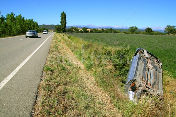 Car crash accident upside down vehicle Stock photo © lunamarina