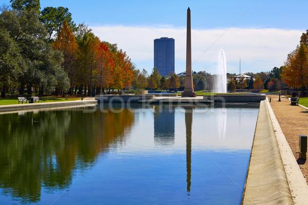 Houston parque pioneiro reflexão piscina luz Foto stock © lunamarina