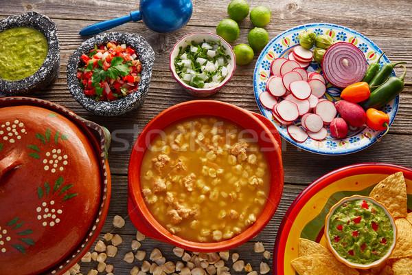 Green Pozole verde with blanco mote corn Stock photo © lunamarina