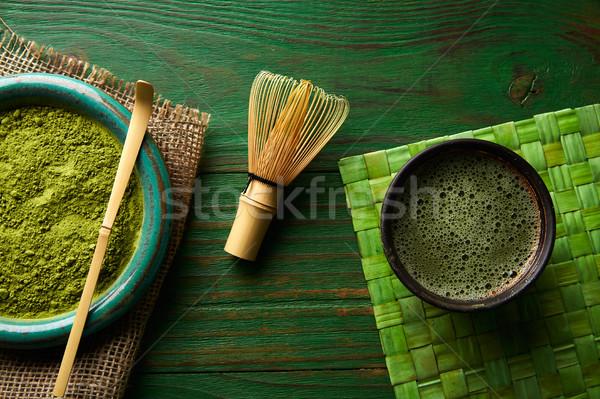 Foto stock: Té · polvo · bambú · cuchara · batidor · japonés