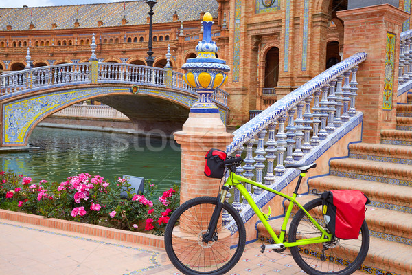 スペイン 自転車 広場 橋 自転車 アーキテクチャ ストックフォト © lunamarina