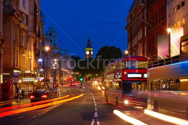 Londra Big Ben kare trafik trafik ışıkları gün batımı Stok fotoğraf © lunamarina