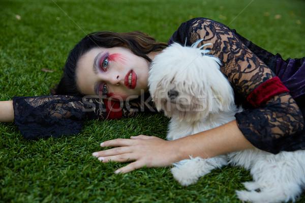 Halloween kid meisje bloedig make witte Stockfoto © lunamarina