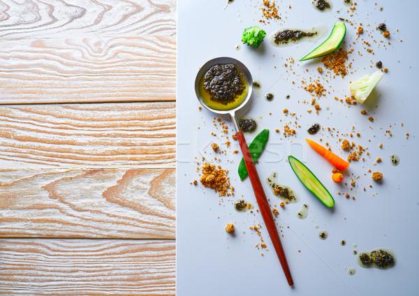 Absztrakt gasztronómia molekuláris konyha háttér konyha Stock fotó © lunamarina