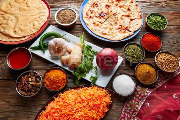 Kókusz rizs indiai recept étel felszolgált Stock fotó © lunamarina