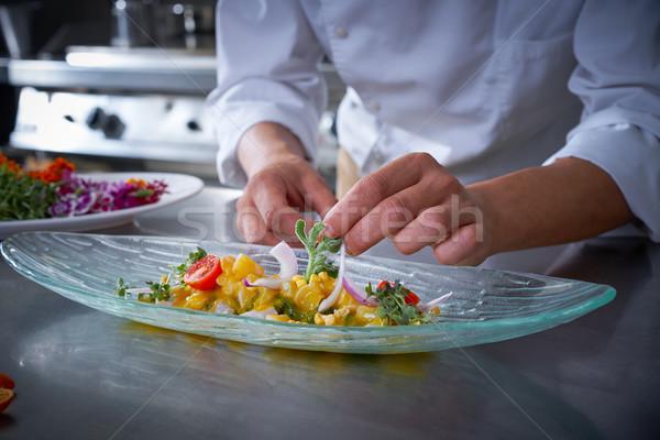 Chef hands garnishing ceviche dish Stock photo © lunamarina