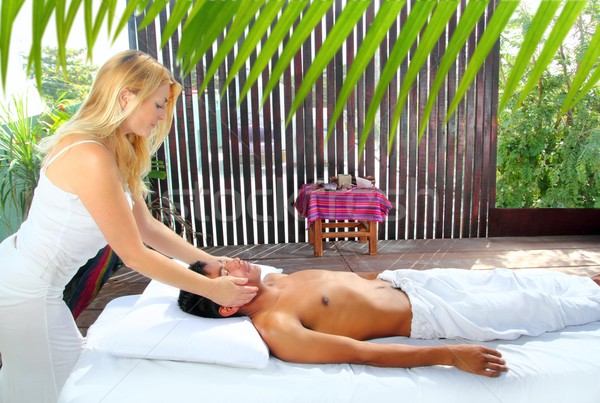 Massage therapy physiotherapy reiki in jungle cabin Stock photo © lunamarina