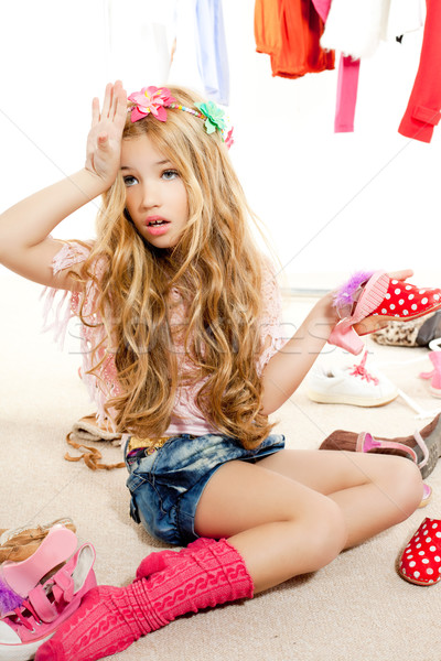 fashion victim kid girl wardrobe messy backstage Stock photo © lunamarina