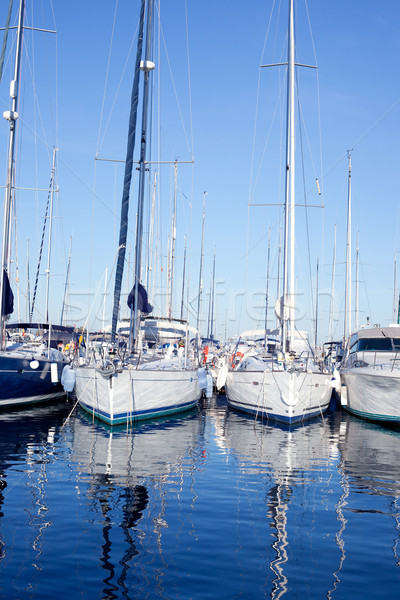 Blue sea boats moored in mediterranean marina Stock photo © lunamarina
