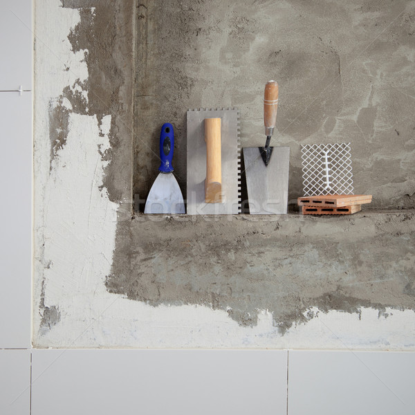 construction stainless steel trowel tools and spatula Stock photo © lunamarina