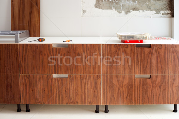 walnut wood kitchen construcion modern design Stock photo © lunamarina