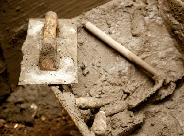 Cemento sucia herramientas como grunge espátula Foto stock © lunamarina