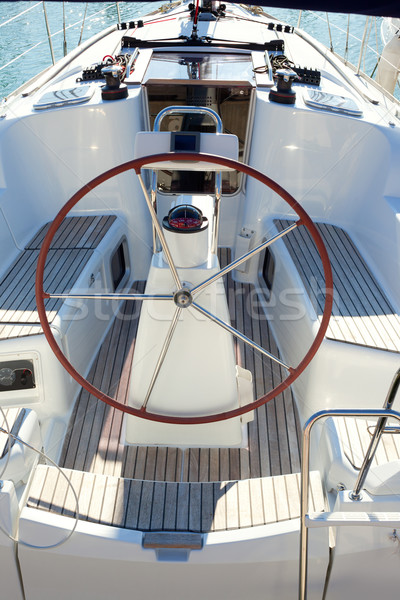 boat stern with big steering wheel sailboat Stock photo © lunamarina