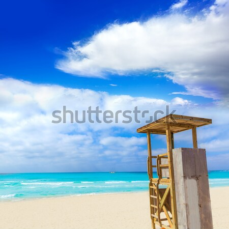 Formentera Llevant beach lifeguard house Stock photo © lunamarina