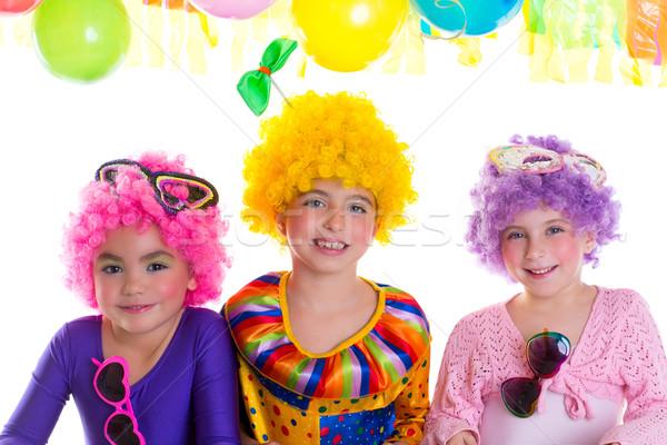 Stockfoto: Kinderen · gelukkige · verjaardag · partij · clown · kleurrijk · vakantie