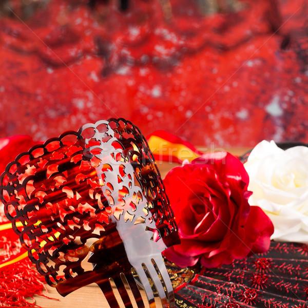 Flamenco fésű ventillátor rózsák tipikus Spanyolország Stock fotó © lunamarina