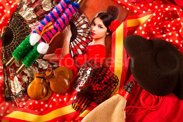 Flamenco nő torreádor tipikus Spanyolország elemek Stock fotó © lunamarina