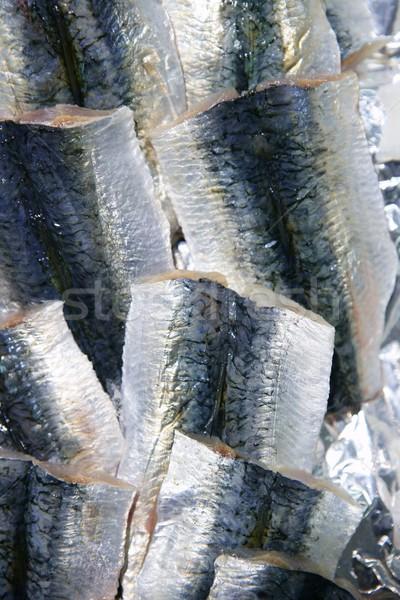 Sardine fish fillet skin texture on market Stock photo © lunamarina