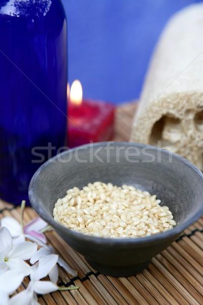 Aromatherapie Rood kaars zee mariene natuurlijke Stockfoto © lunamarina