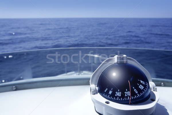 Compass on a yacht boat tower Stock photo © lunamarina