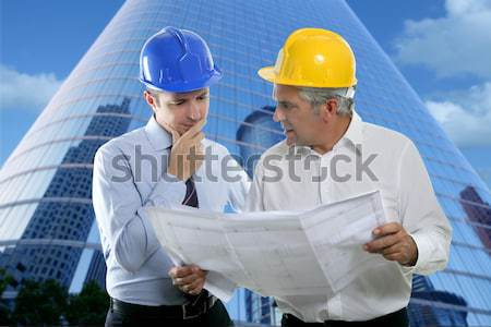 engineer architect two expertise team plan quarry Stock photo © lunamarina