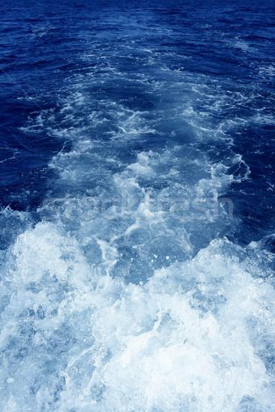 Boat wake foam water propeller blue wash Stock photo © lunamarina