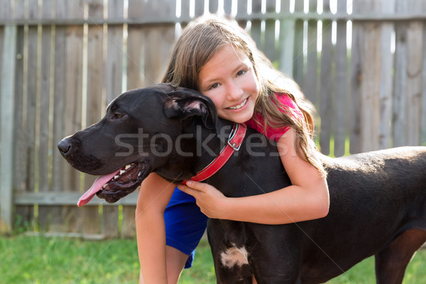 great dane and kid girl hug playing outdoor Stock photo © lunamarina