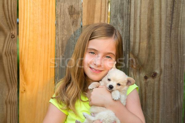 Foto stock: Loiro · criança · menina · humor · cachorro · cão