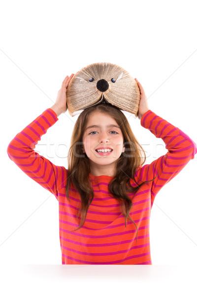 Brunette kid meisje student egel boek Stockfoto © lunamarina